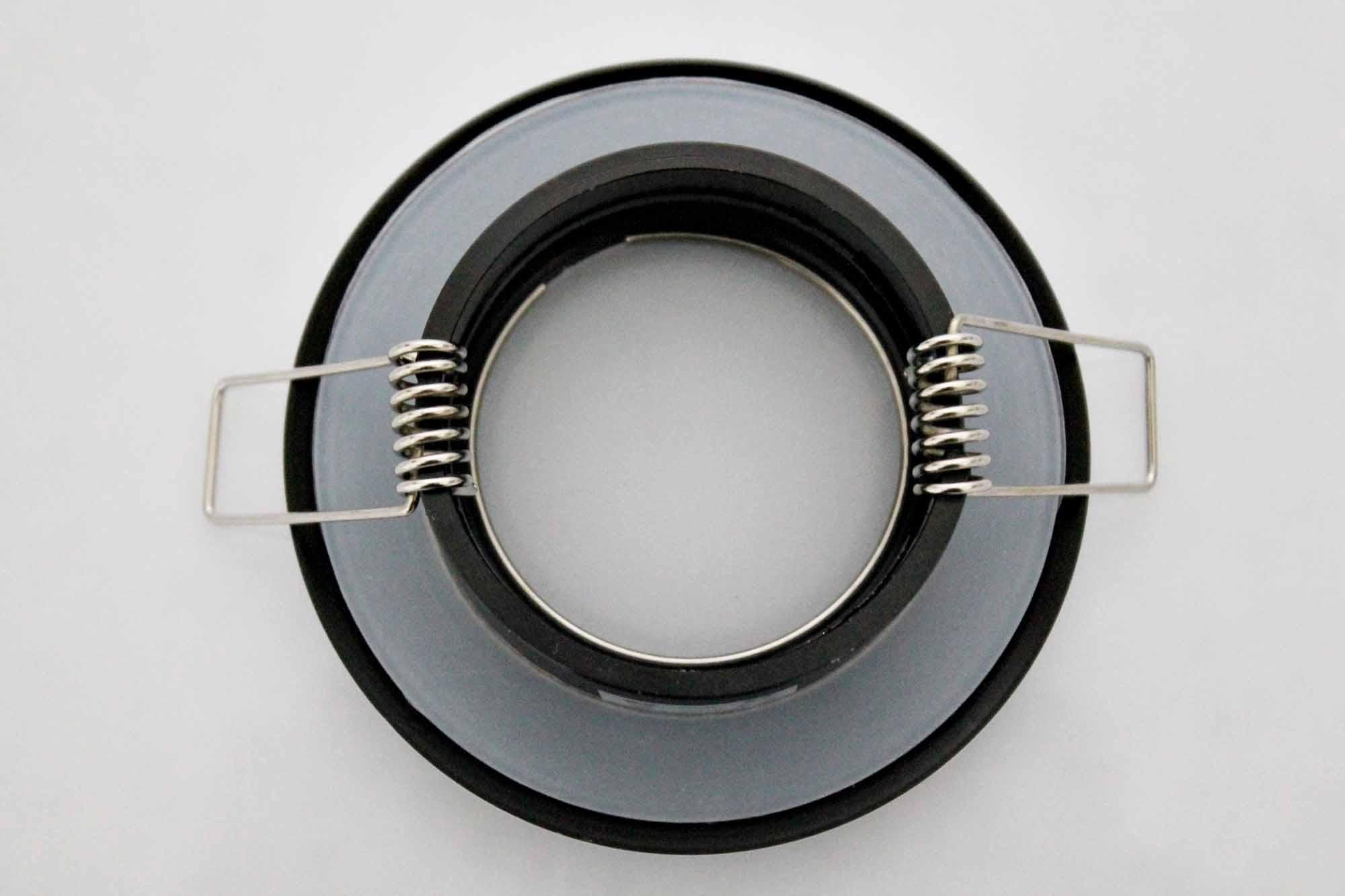 led ip44 feuchtraum einbaustrahler rund schwarz geriffelt klar einbauspots deckeneinbaustrahler. Black Bedroom Furniture Sets. Home Design Ideas