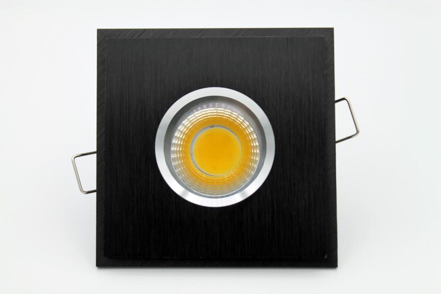 LED Feuchtraum Einbaustrahler eckig Quadrat schwarz gebürstet Alu ...